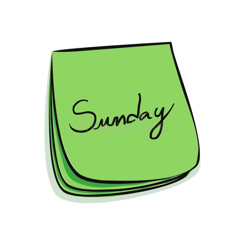 Download Nota di domenica illustrazione vettoriale. Illustrazione di domenica - 7313563