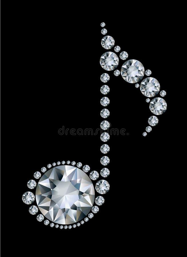 Nota di musica del diamante illustrazione di stock