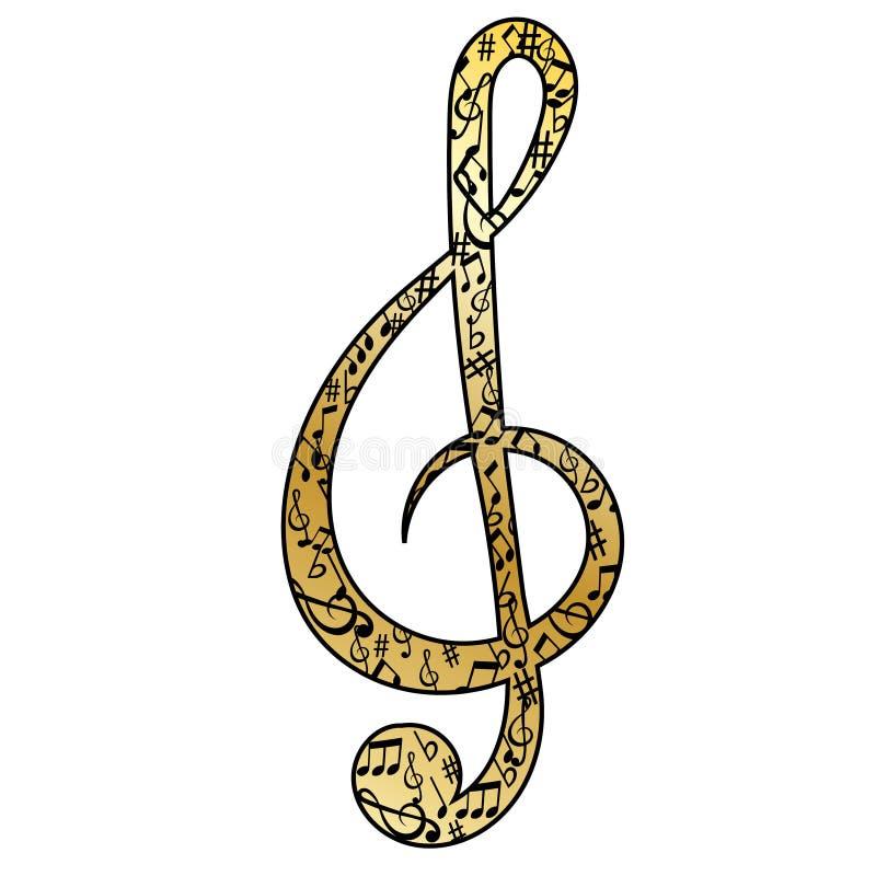 Nota di musica nella chiave tripla dorata fotografia stock libera da diritti