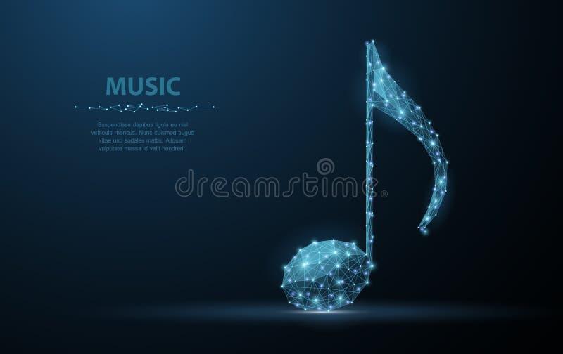 Nota di musica di vettore Illustrazione bassa della nota quarta del poy del cavo astratto su fondo blu scuro con le stelle illustrazione vettoriale