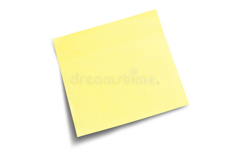 Nota di post-it con ombra fotografie stock
