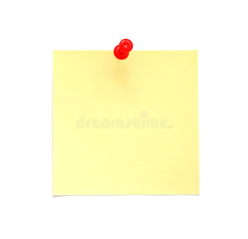 Nota di post-it gialla in bianco con il perno rosso di spinta fotografia stock