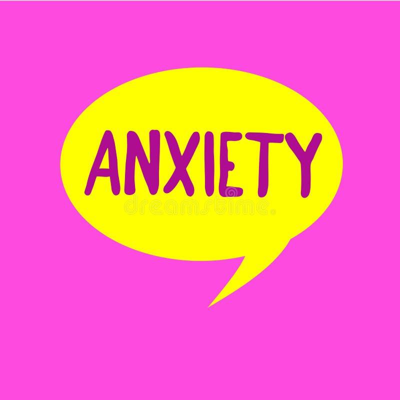 Nota di scrittura che mostra ansia Foto di affari che montra eccessiva sindrome di attacco di panico di apprensione e di disagio illustrazione di stock
