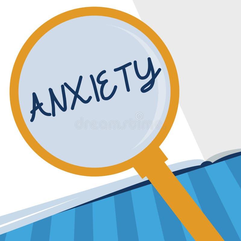 Nota di scrittura che mostra ansia Foto di affari che montra eccessiva sindrome di attacco di panico di apprensione e di disagio illustrazione vettoriale