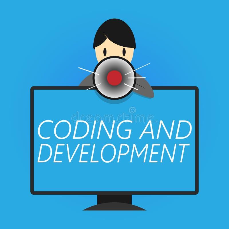 Nota di scrittura che mostra codifica e sviluppo Foto di affari che montra gli assemblatori semplici di costruzione di programmaz illustrazione vettoriale