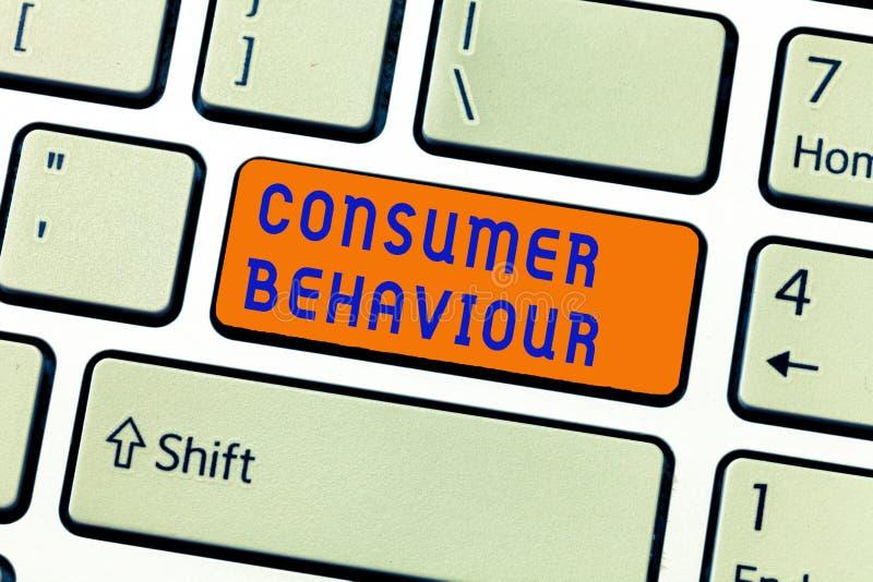 Nota di scrittura che mostra comportamento del consumatore Foto di affari che montra le decisioni che la gente prende per comprar immagini stock libere da diritti