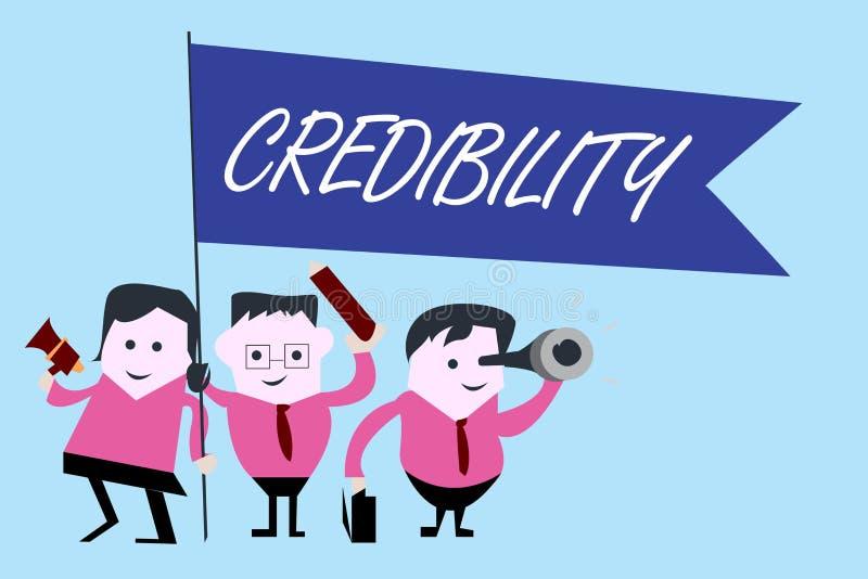 Nota di scrittura che mostra credibilità Foto di affari che montra qualità di essere credibile di fiducia in modo convincente e c royalty illustrazione gratis