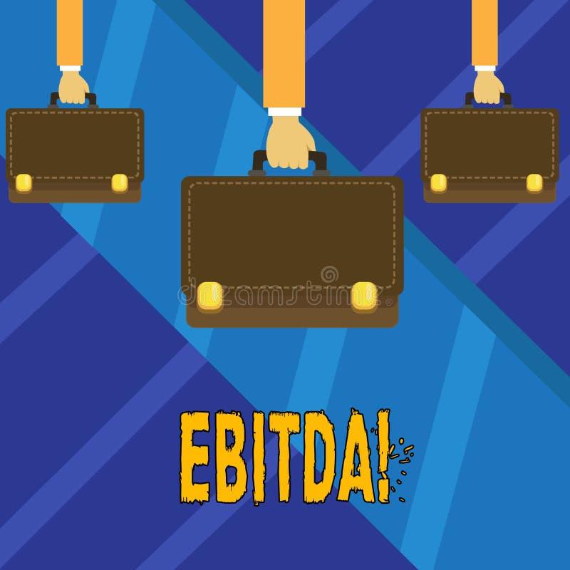 Nota di scrittura che mostra Ebitda Foto di affari che montra i guadagni prima che la tassa sia misurata per valutare la società illustrazione vettoriale