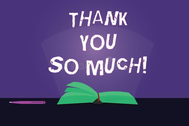 Nota di scrittura che mostra grazie mille Foto di affari che montra espressione dei saluti di ringraziamento di apprezzamento royalty illustrazione gratis