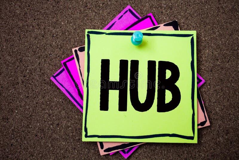 Nota di scrittura che mostra hub Foto di affari che montra il centro di calcoli di collegamento del dispositivo delle carte del t immagini stock