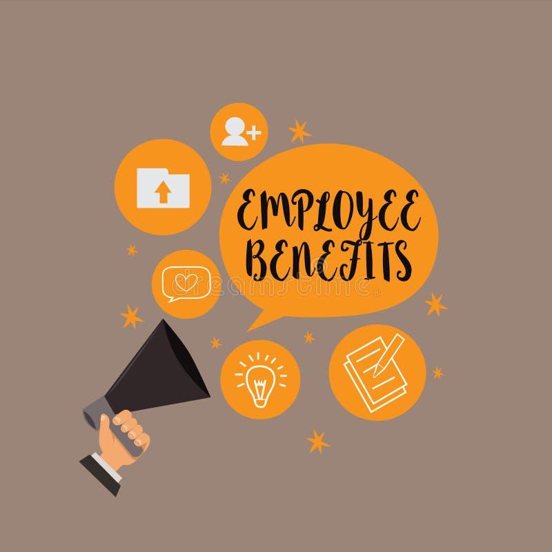 Nota di scrittura che mostra i benefici degli impiegati Montrare della foto di affari indiretto e compensazione del noncash pagat illustrazione vettoriale