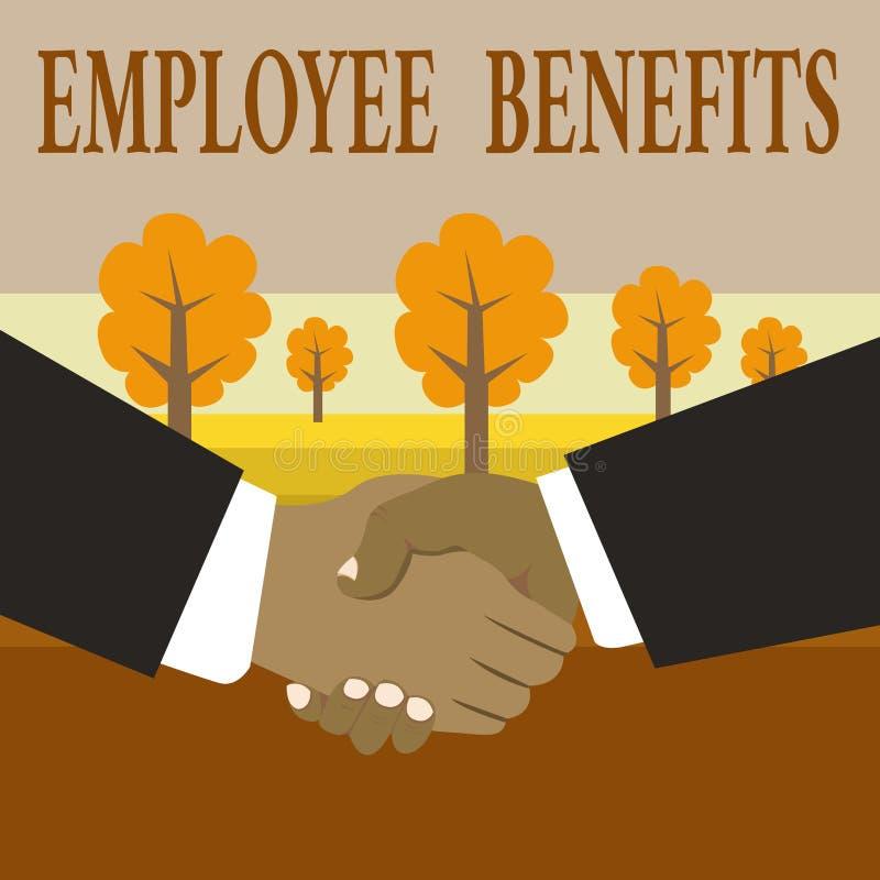 Nota di scrittura che mostra i benefici degli impiegati Montrare della foto di affari indiretto e compensazione del noncash pagat illustrazione di stock