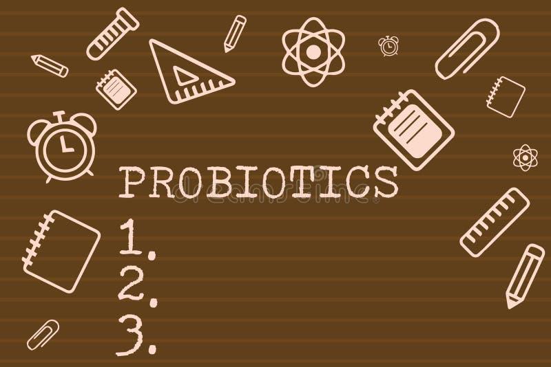 Nota di scrittura che mostra i probiotici Foto di affari che montra il microrganismo in tensione dei batteri ospitato nel corpo p illustrazione vettoriale