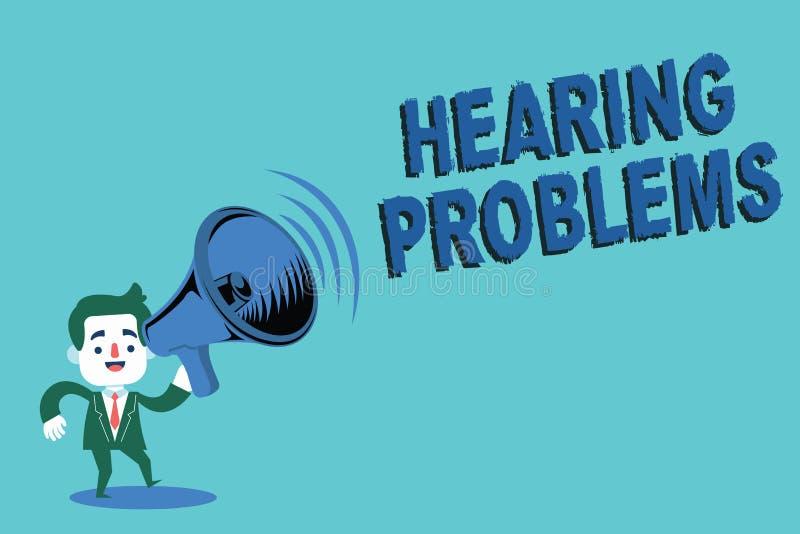 Nota di scrittura che mostra i problemi di udienza Montrare della foto di affari è incapacità parziale o totale di ascoltare il s illustrazione vettoriale