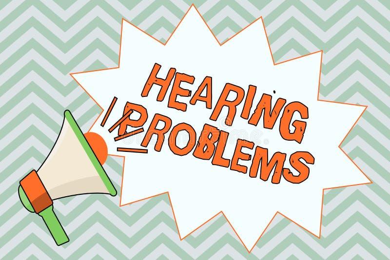 Nota di scrittura che mostra i problemi di udienza Montrare della foto di affari è incapacità parziale o totale di ascoltare norm illustrazione di stock