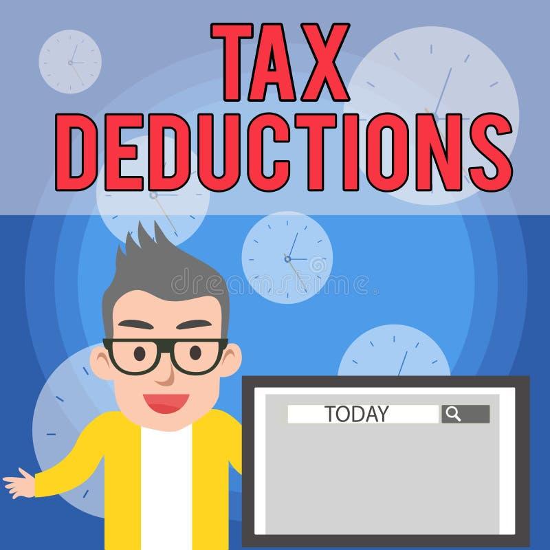 Nota di scrittura che mostra le detrazioni delle imposte La foto di affari che montra un importo o un costo che hanno sottratto d illustrazione di stock