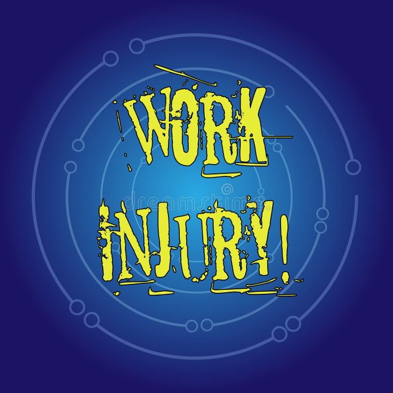 Nota di scrittura che mostra lesione di lavoro Foto di affari che montra incidente cui si è presentato durante e come risultato d royalty illustrazione gratis