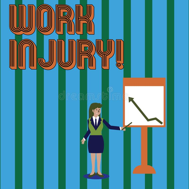 Nota di scrittura che mostra lesione di lavoro Foto di affari che montra incidente cui si è presentato durante e come risultato d illustrazione vettoriale