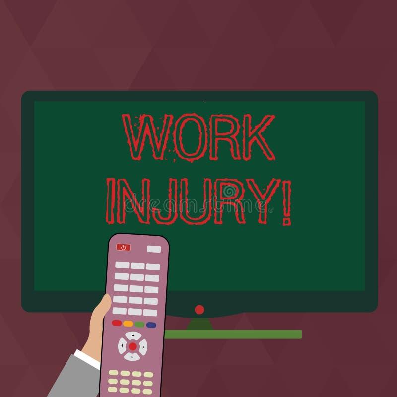 Nota di scrittura che mostra lesione di lavoro Foto di affari che montra incidente cui si è presentato durante e come risultato d illustrazione di stock