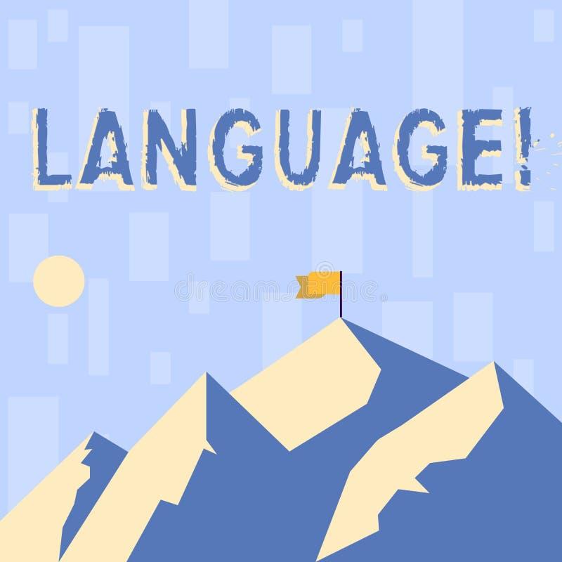 Nota di scrittura che mostra lingua Foto di affari che montra metodo di parola scritte comunicazione di uso di huanalysis illustrazione di stock