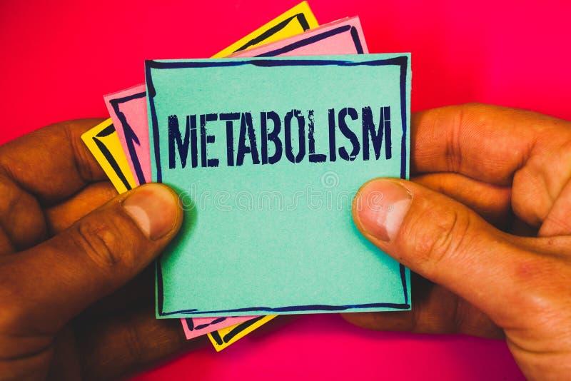 Nota di scrittura che mostra metabolismo Foto di affari che montra i processi chimici nel corpo per produrre mult di trasformazio immagini stock