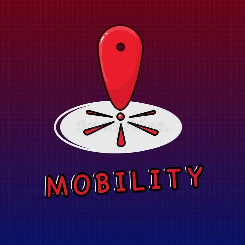 Nota di scrittura che mostra mobilità Foto di affari che montra capacità di muoversi o essere adattabilità facilmente liberamente illustrazione di stock