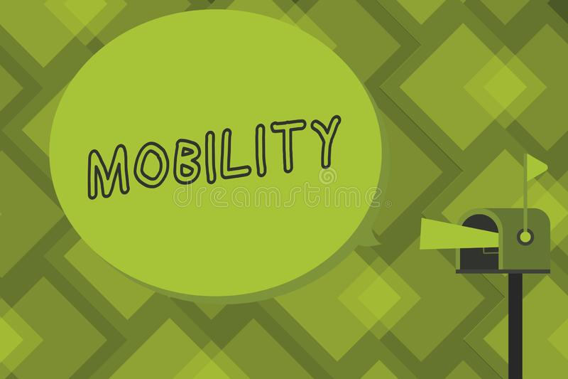 Nota di scrittura che mostra mobilità Foto di affari che montra capacità di muoversi o essere adattabilità facilmente liberamente royalty illustrazione gratis