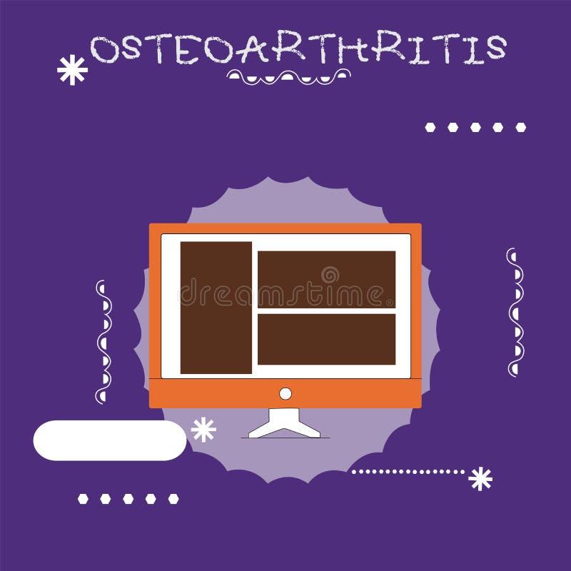 Nota di scrittura che mostra osteoartrite Foto di affari che montra degenerazione di cartilagine unita e dell'osso di fondo illustrazione vettoriale