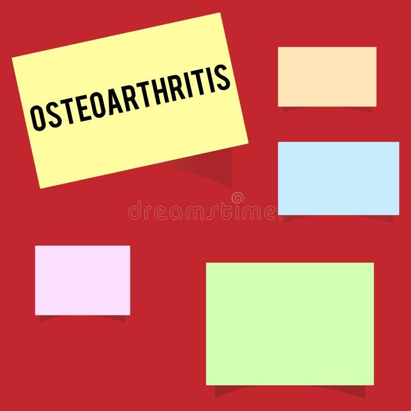 Nota di scrittura che mostra osteoartrite Foto di affari che montra degenerazione di cartilagine unita e dell'osso di fondo illustrazione di stock