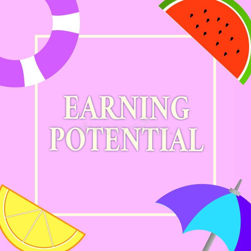 Nota di scrittura che mostra potenziale dei guadagni Foto di affari che montra stipendio superiore per un campo particolare o un  illustrazione vettoriale