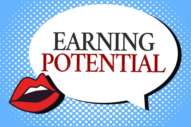 Nota di scrittura che mostra potenziale dei guadagni Foto di affari che montra stipendio superiore per un campo particolare o un  illustrazione di stock