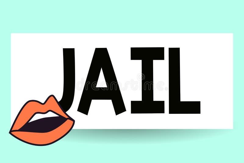 Nota di scrittura che mostra prigione Foto di affari che montra posto per la relegazione della gente accusata e condannata della  illustrazione di stock