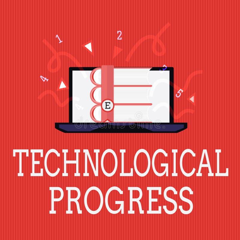 Nota di scrittura che mostra progresso tecnologico Foto di affari che montra processo globale di diffusione dell'innovazione di i illustrazione vettoriale