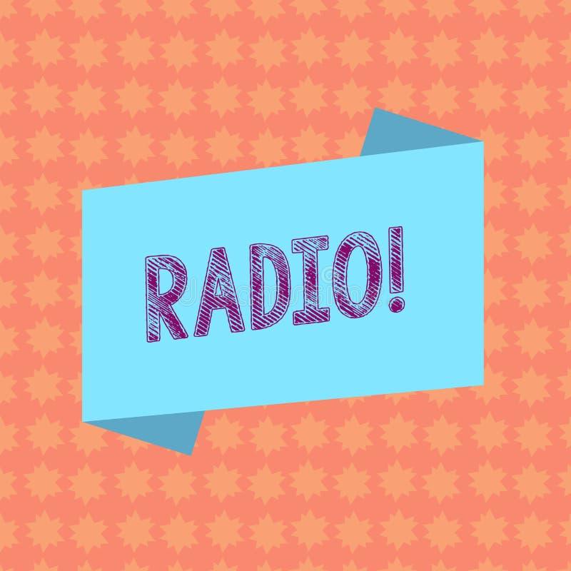 Nota di scrittura che mostra radio Foto di affari che montra attrezzatura elettronica utilizzata per ascoltare i programmi di rad illustrazione vettoriale