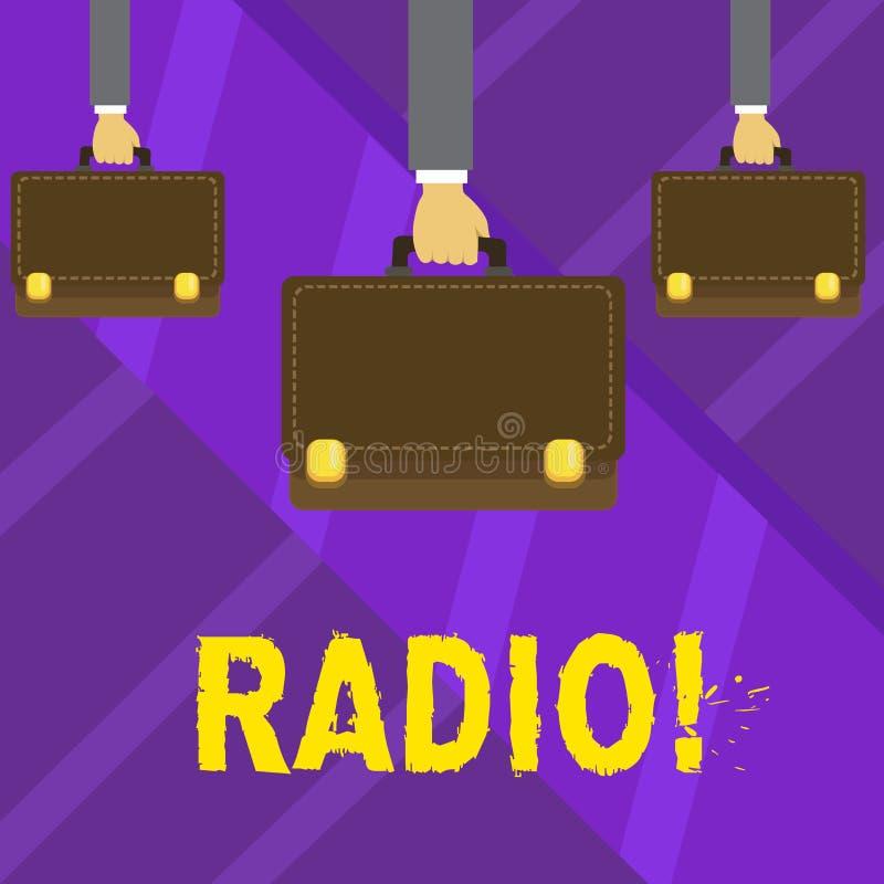 Nota di scrittura che mostra radio Foto di affari che montra attrezzatura elettronica utilizzata per ascoltare i programmi di rad royalty illustrazione gratis
