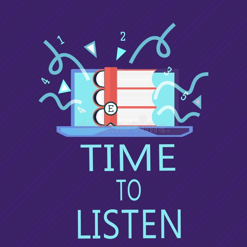 Nota di scrittura che mostra tempo di ascoltare Foto di affari che montra attenzione di elasticità a qualcuno o a qualcosa per se illustrazione di stock