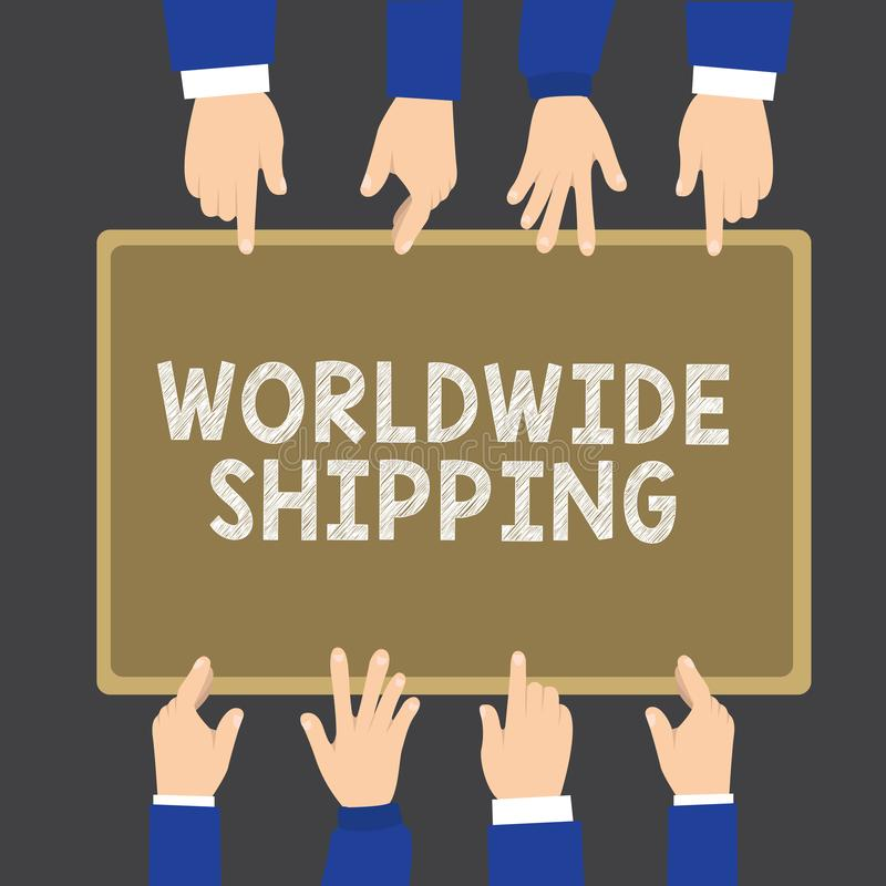 Nota di scrittura che mostra trasporto mondiale Foto di affari che montra consegna dei trasporti via mare della spedizione dell'i illustrazione di stock