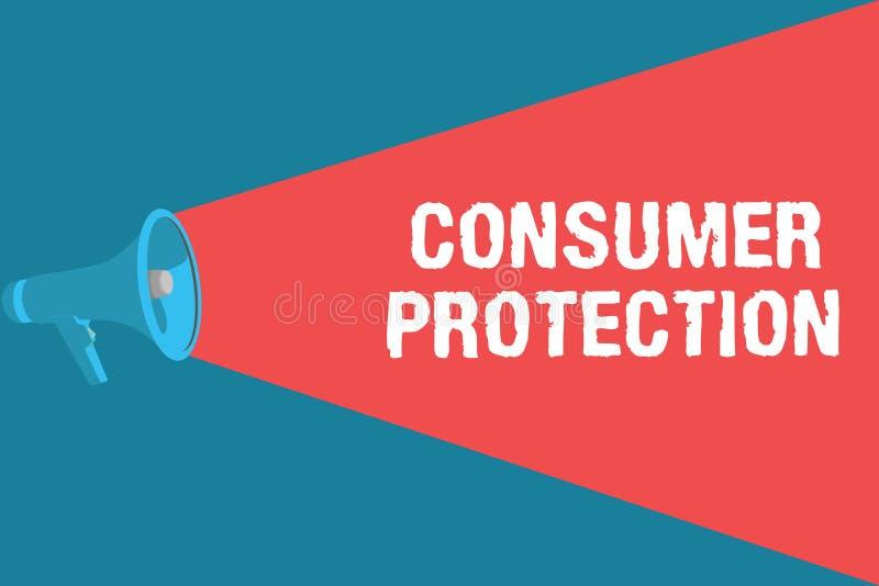 Nota di scrittura che mostra tutela dei consumatori Foto di affari che montra le leggi di commercio equo e solidale per assicurar illustrazione di stock