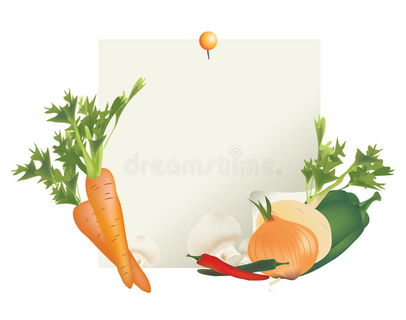 Nota di verdure degli ingredienti per la ricetta illustrazione vettoriale