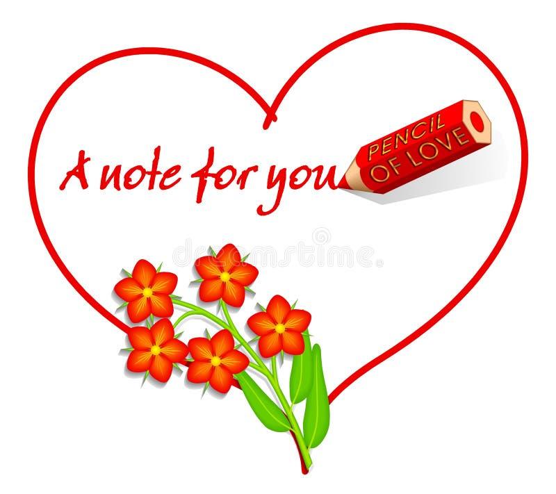 Nota do amor - escarlate do Pimpernel ilustração stock