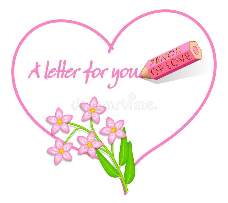 Nota do amor - flores da cor-de-rosa selvagem ilustração do vetor
