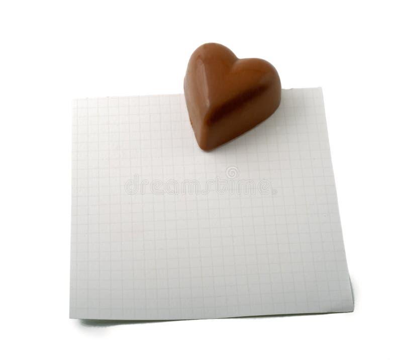 Nota do coração do chocolate fotos de stock royalty free