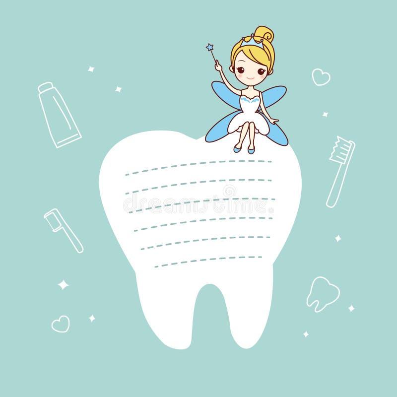 Nota do dente com fada de dente ilustração stock