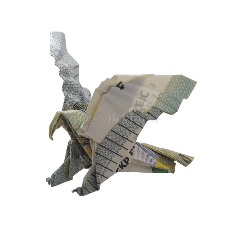 Nota do Euro de EAGLE Bird Real 5 do origâmi do dinheiro isolada no fundo branco imagem de stock