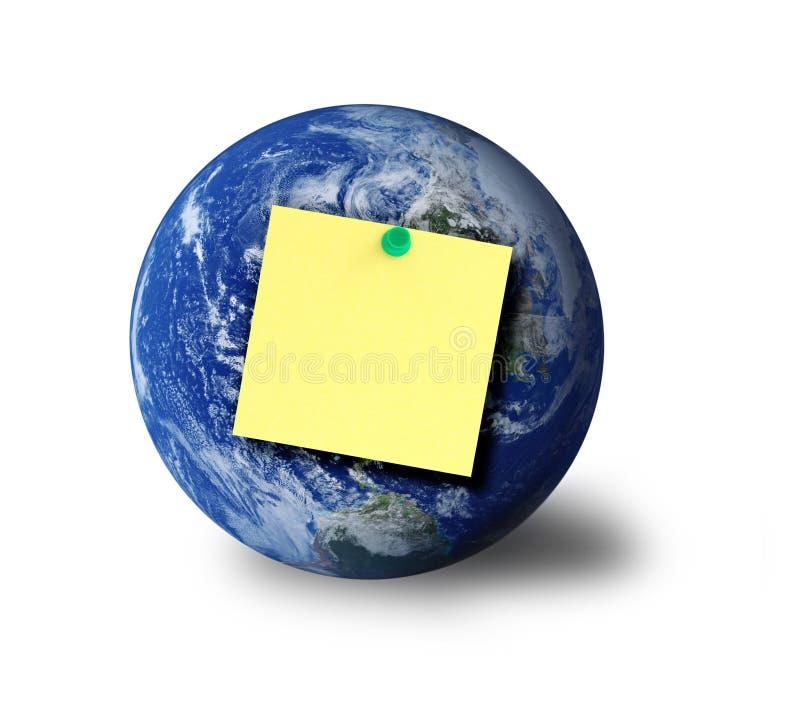 Nota do globo e do adesivo fotos de stock royalty free