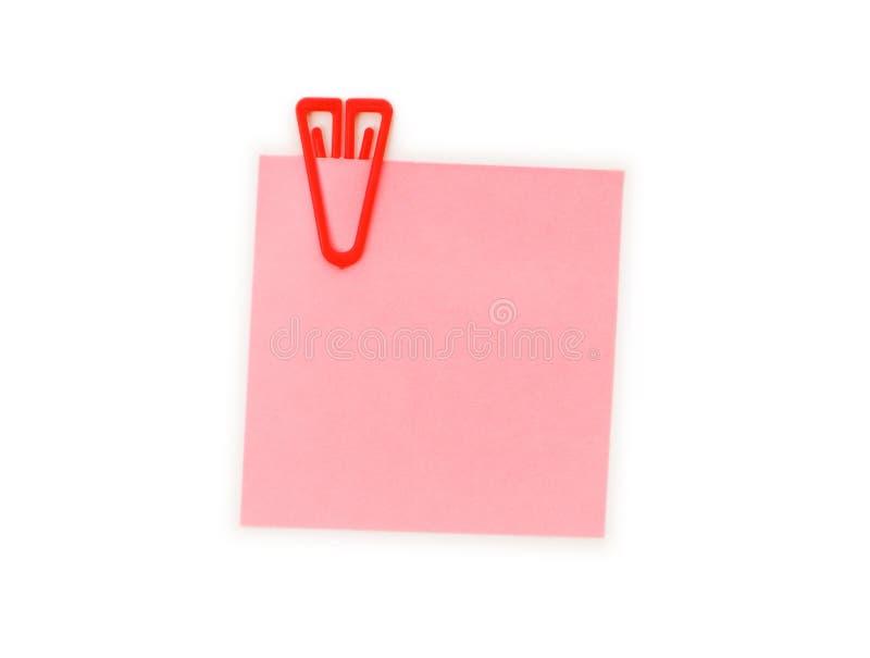 Nota do lembrete com paperclip imagem de stock