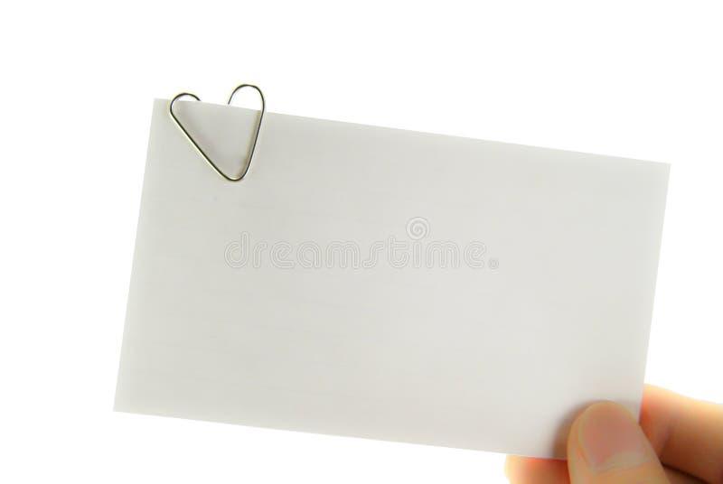 Nota do lembrete do paperclip do coração foto de stock