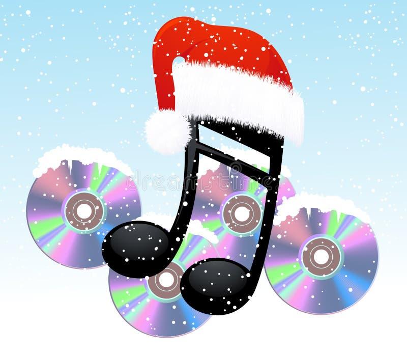 Nota e disco do Natal ilustração do vetor