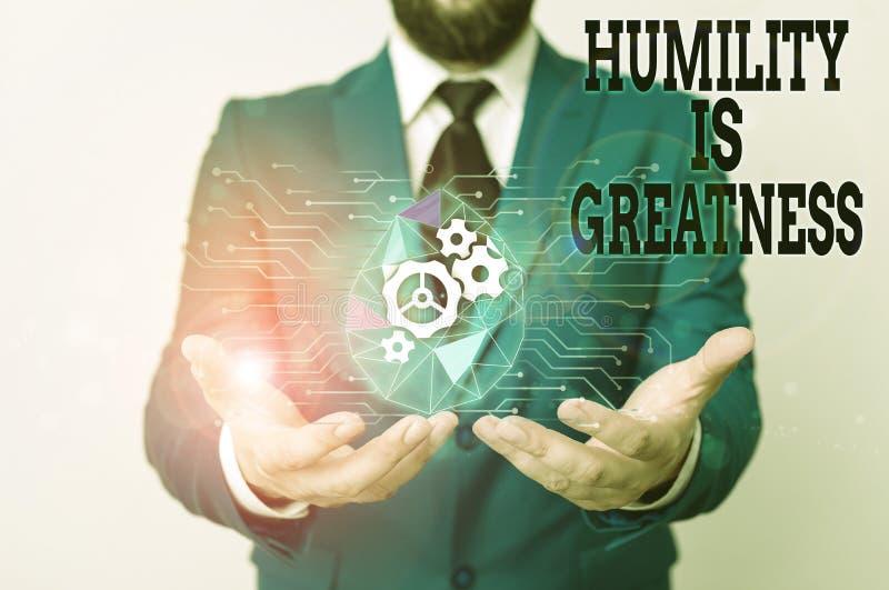 Nota escrita que muestra Humility Is Greatness La fotografía de negocios mostrando ser humilde es una virtud no sentir demasiado imagen de archivo libre de regalías