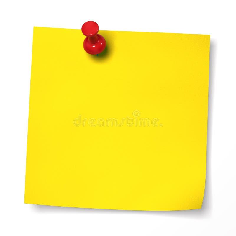 Nota gialla con il thumbtack rosso fotografia stock